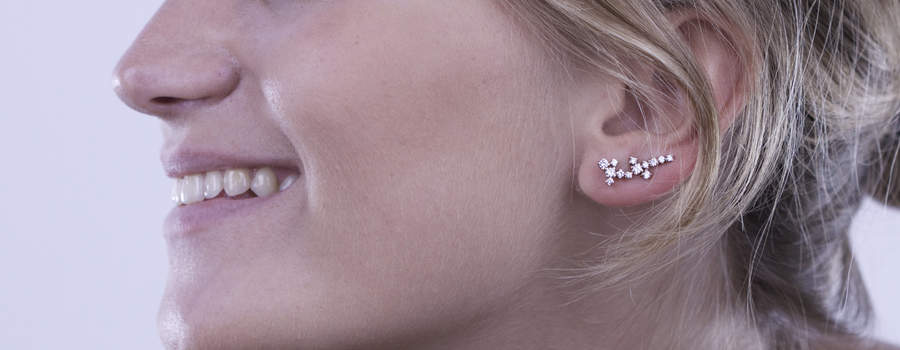 Afew Jewels - Pendiente Kliot 18K Oro Rosa + 0.9Ct Brillantes Blancos