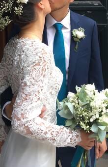 Bouquet de mariée Blanc/bleu Des Bulles dans les Branches