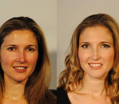Maquillaje y peinado de novia : antes y después