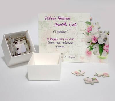 Partecipazione nozze puzzle con scatola