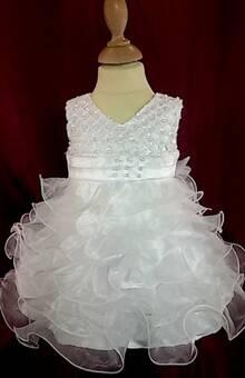 Robe de baptême blanche pour fille avec froufrous pour cérémonie du 3 mois au 2 ans