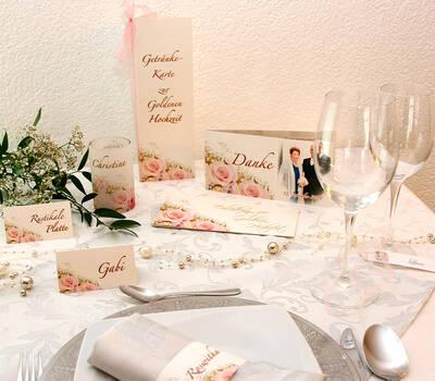 Cela-Design Kartenset Sonnenblumen mit Einladung Buffetkarte, Tischkarte & Teelicht-Gastgeschenk, Dankeskarte, Serviettenbanderole