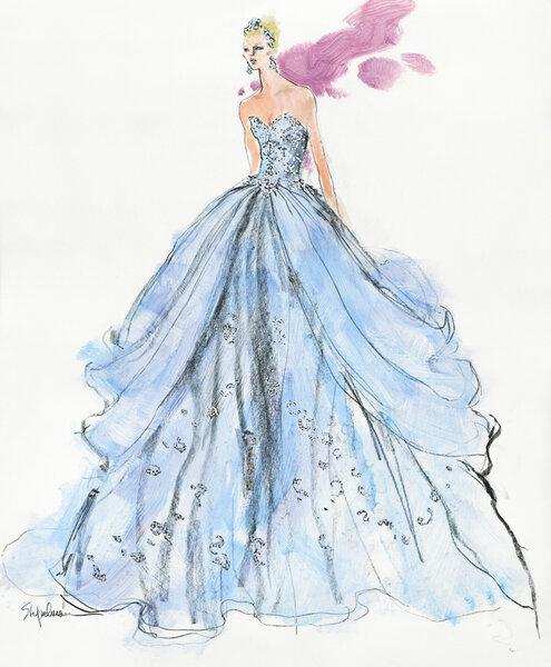 Bosquejo del vestido de novia inspirado en Cenicienta