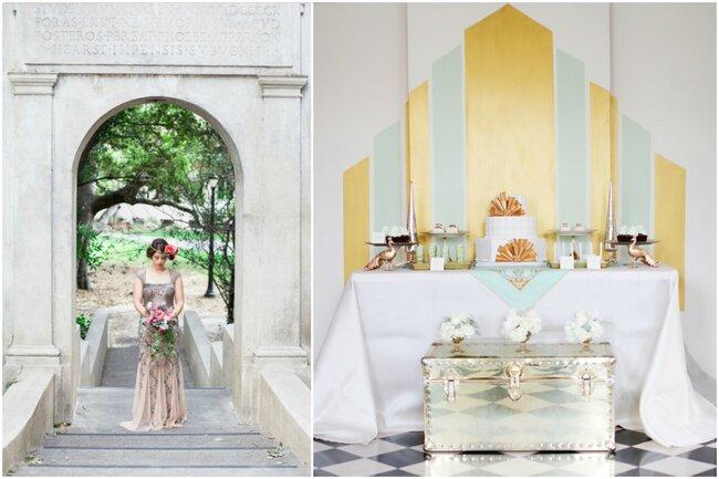 L'Art Nouveau inspire la tenue de mariée et les détails dorés de la décoration.