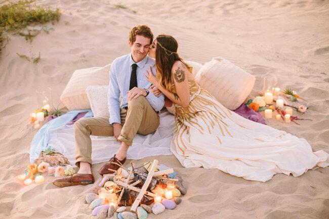 Una velada super romántica en la playa.