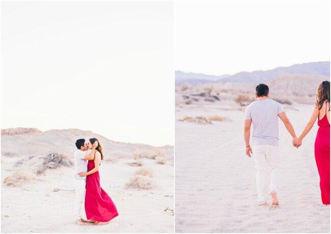 Boda hippie en una playa semejante al desierto.