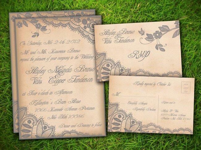 Faire-part de mariage avec une touche dorée. Photo: Etsy