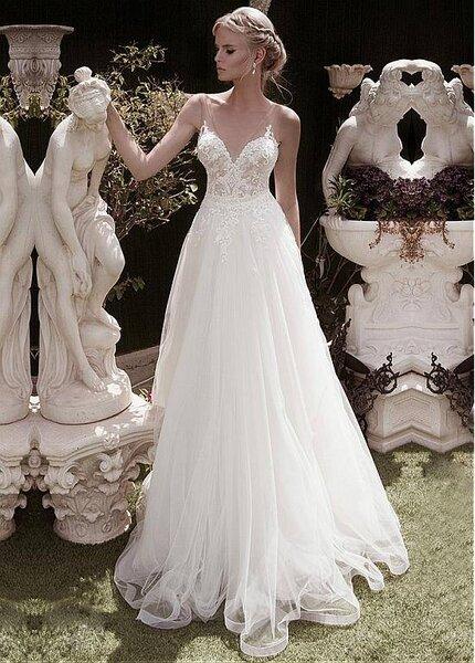 vestidos de novia para mujeres con poco pecho