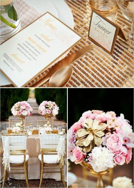 Lentejuelas para tu mesa y diversos detalles dorados combinados con flores rosas
