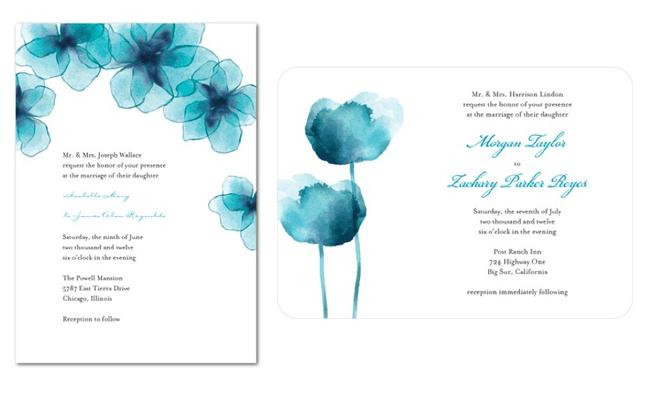 Invitación de boda colorida con impresiones de flores en color azul