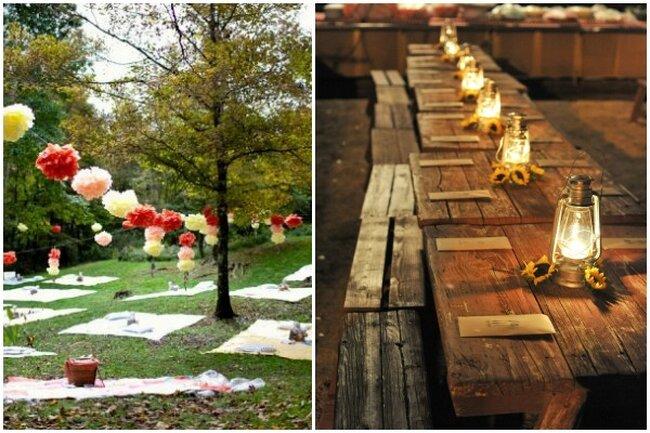 Adornos para el picnic colgantes o luces con girasoles