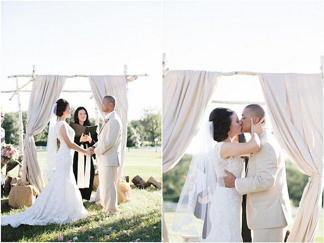 Decoração original para o altar do casamento. Foto: Alea Lovely
