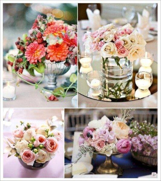 Des centres de table romantiques et raffin s avec des fleurs for Composition centre de table