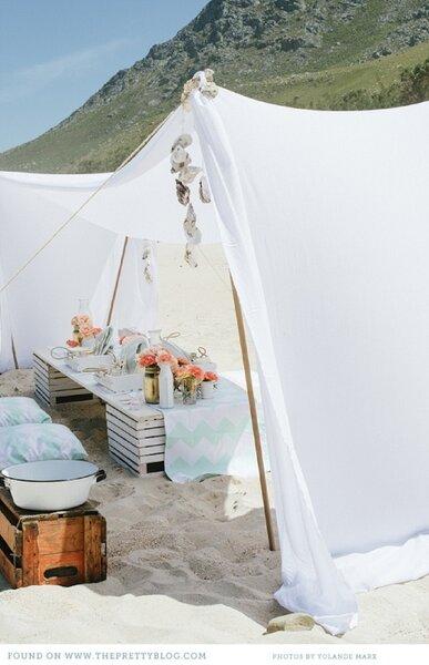 Tienda para boda en la playa.