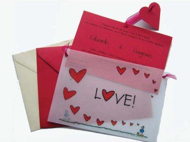Invitaciones color rojo. www.regalos-boda.com