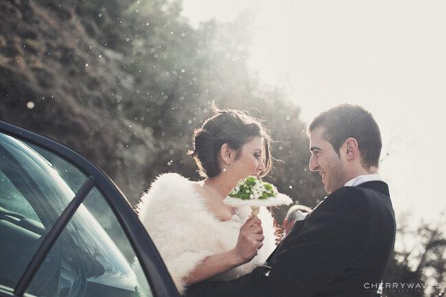 Abrigos de novia para una boda de invierno