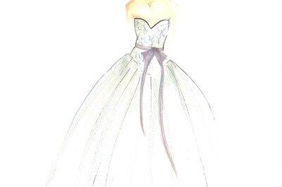 Ilustraciones de vestidos de novia y fiesta hechos por Vera Wang