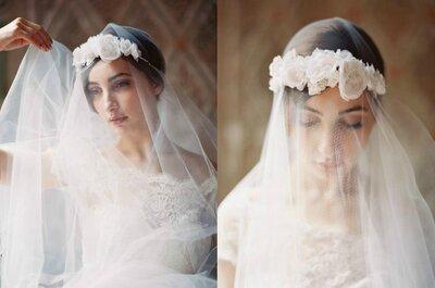 A tendência moderna da coroa de flores com o clássico e famoso véu da noiva