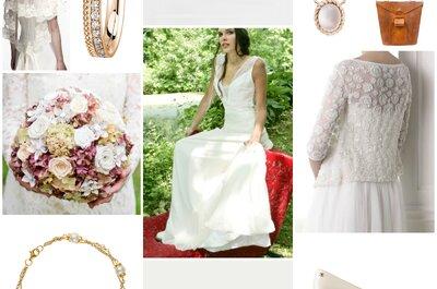Look pour mariée vintage : une robe pleine de poésie et ses 10 accessoires