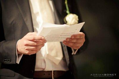 Cómo preparar un discurso de boda, lo que sí y lo que no