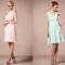 Vestidos de fiesta cortos para damas de boda en colores pastel como rosa y menta con cortes rectos