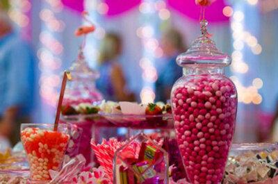 Decoración original con caramelos para la boda