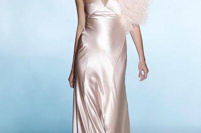 Vestidos de novia en color rosa pastel estilo Jessica Biel