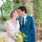 Besos de recién casados.
