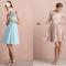Vestidos cortos para damas de boda en colores pastel con detalles de encaje, escotes ilusión y cortes A en las faldas