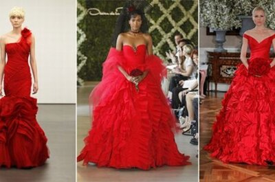 Color Takes Over NYC's Bridal Fashion Week Runways: Colorful Wedding Dresses From Vera Wang, Oscar de la Renta, & More!
