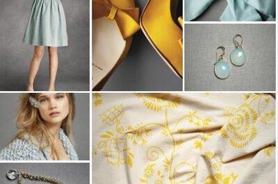 Inspiration pour une décoration de mariage bleue et jaune