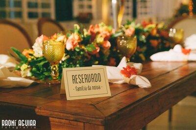 Lugar marcado na recepção do casamento: miniguia para distribuir os seus convidados!