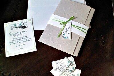 3 partes de matrimonio con cintas verdes