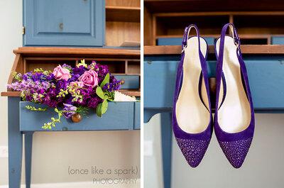 Sapatos coloridos de noivas reais