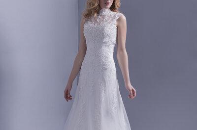 Los más elegantes bordados en vestidos de novia: encaje, jacquard y damasco