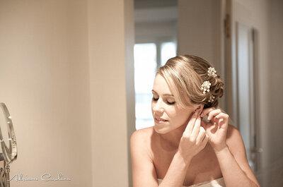 Brincos de pérolas e brilhante para noivas