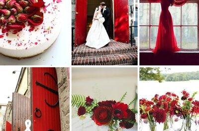 Rojo en contraste: El lienzo perfecto para magnificar la esencia de tu boda