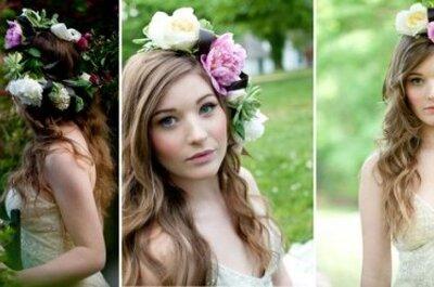 Couronne de fleurs dans les cheveux : toutes les mariées en veulent !
