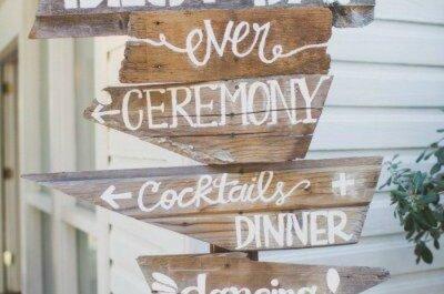 Plaquinhas para um casamento vintage, rústico e bohemio