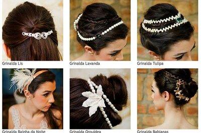 Grinaldas e tiaras para noivas Carol Hungria: glamour, delicadeza e versatilidade
