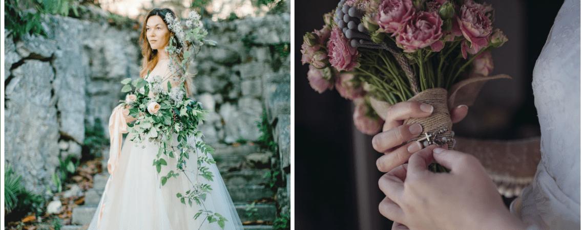 Wie man den passenden Brautstrauss zum Hochzeitslook wählt! Setzen Sie farbige Akzente