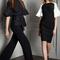 Traje sastre en color negro con mangas holgadas y vestido de fiesta 2014 en color negro con mangas en tono blanco