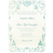 Invitación de boda vintage con formato vertical y colores azul acqua y verde
