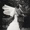 Bruidssluier in de wind