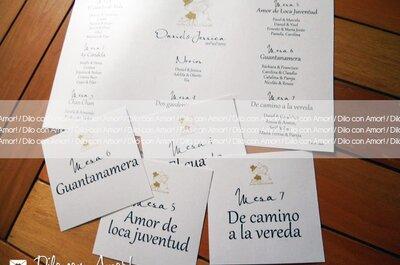 Originales marcadores para las mesas de la boda