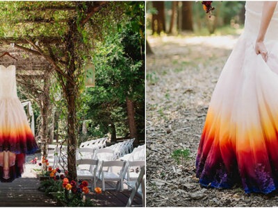 Vestidos de noiva Dip Dye: conheça esta tendência original e colorida!