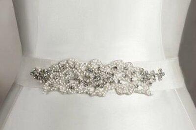 Cintos trabalhados com cristais e pedras para seu vestido de noiva: San Patrick