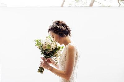 Combina tu vestido de novia con el ramo de flores. ¡Aquí los tips!