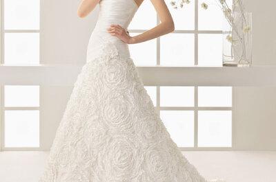 Selección de vestidos de novia con faldas de flores 2013