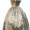 Abito da cocktail in taffetà e organza di seta, con ampia gonna a palloncino e stampa chandelier in oro su sfondo turchese [1957]. Courtesy: Museo Cristóbal Balenciaga